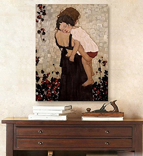 Hand-painted master quality oil painting Gustav Klimt Mother And Child Art Canvas oil painting wall art Portrait of artwork by Fchen Art
