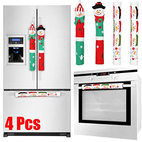 (Tonak Refrigerator Handle Covers Christmas Decorations for Kitchen Appliance Oven Door Handle Xmas Decor Ornaments Snowman Set of 4)