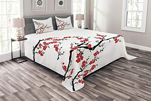 Lunarable Japanese Coverlet Set King Size, Simplistic Cherry Blossom Tree Asian Botanic Themed Pattern Fresh Organic Lines Art, Decorative Quilted 3 Piece Bedspread Set with 2 Pillow Shams, Red Black