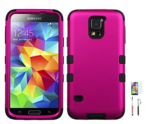 Price comparison product image Galaxy s5 Case, [Heavy Duty] Galaxy s5 Armor Tough [Rubber] Rugged Shockproof Dual Layer Hybrid Hard/Soft Protective Case, Two Crystal Stylus and Screen Protector (For the Galaxy S5) (Pink)