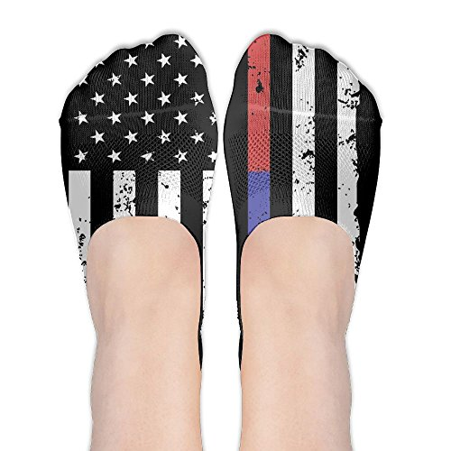 Police And FireFighter Thin Blue Red Line Flag Womens Thin Casual No Show Socks Non Slip Flat Boat Line by Wendengly