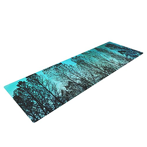 Kess InHouse Sylvia Cook Dark Forest Exercise Yoga Mat, Blue Trees, 72