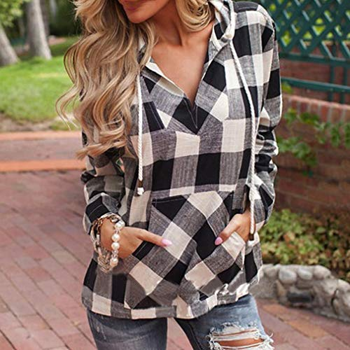 Blouse VJGOAL Top Plaid Sleeve Womens Autumn Pullover Hoodie Sweatshirt Fashion Long Shirt Black T 4v4qrAw