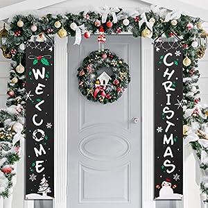 Amosfun Banner Portico di Natale Benvenuto Banner Decorativo per Appendere Decorazioni Natalizie per Porte da Cortile o Banner per pareti Interne 4 spesavip