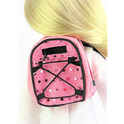 American Fashion World Pink Sequin Backpack fits 14 Inch Doll: Toys & Games