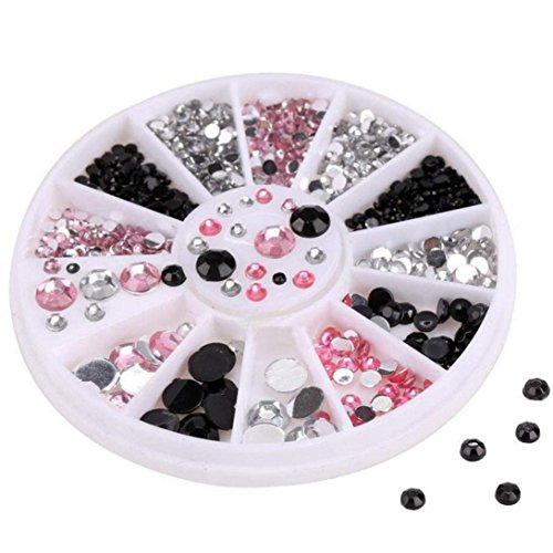 3D Acrylic Nail Art Tips Decoration Flat Back Glitter Rhinestones Pearls Beads (Hello Plate Kitty Nail)