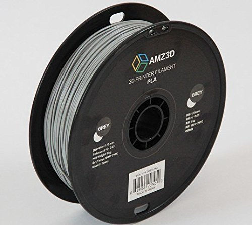 1.75mm Grey PLA 3D Printer Filament - 1kg Spool (2.2 lbs) - Dimensional Accuracy +/- 0.03mm AMZ3D