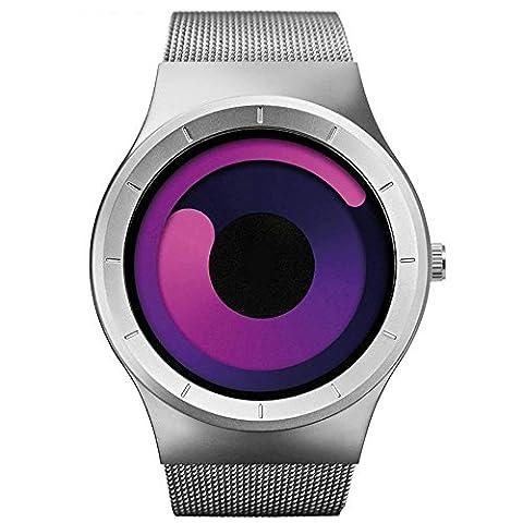 Mens Watches Luxury 2017 Stainless Steel Mesh Strap Quartz Watch Fashion Aurora Style (Red Silver) (Gold Versus Watches For Men)