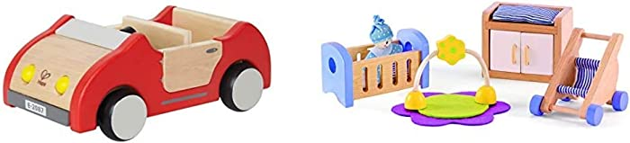 Hape Dollhouse Family Car | Wooden Dolls House Car Toy, Push Vehicle Accessory for Complete Doll House Furniture Set & Wooden Doll House Furniture Baby's Room Set