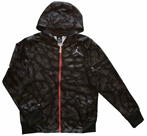 Air Jordan Elephant Print Fleece Hoodie Full Zip - Black, Grey, Red (XL, 14 YRS+)
