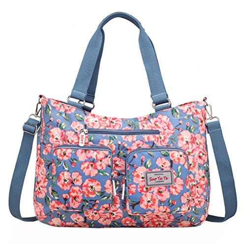(EasyHui Nylon Messenger Bag Crossbody Shoulder Bag Women Girls Flower Print Large Capacity Travel Bag Plum Blossom)