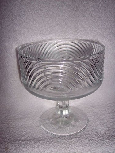 Vintage E.O. Brody Co. Cleveland Ohio Clear Glass Ribbon Swirl Pedestal Compote Bowl