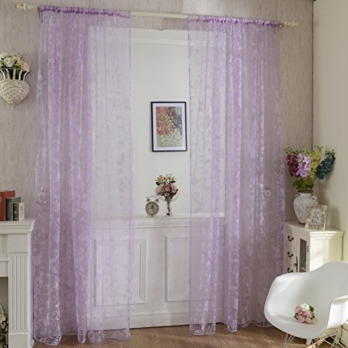 el Scarf Sheer Voile Butterfly Flocked Window Curtain Decal ()