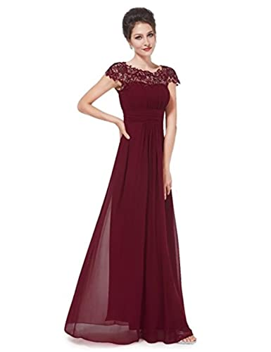 Adodress Womens Cap Sleeve Lace Neckline Ruched Bust Evening Gown Prom Dresses Bridesmaid Dresses Long at Amazon Womens Clothing store: