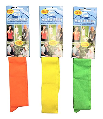 Cool Downz Cooling Neck Wrap (3 Packs), Neon Green, Neon Yellow and Neon Orange