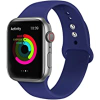 Ontube Bands Compatible with Apple Watch,Soft Silicone Adjustable Sport Replacement Straps for iWatch Series 4/3/2/1 (38MM/40MM, Royal Blue)