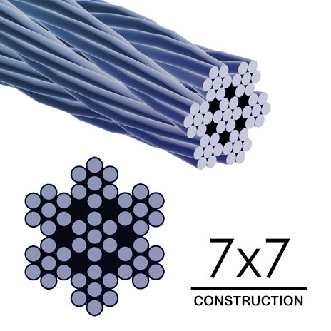 ALEKO WR1/16G304F1000 1/16 Inch Diameter 7 x 7 Strand 304 Stainless Aircraft Steel Cable Wire Rope 1000 Feet