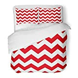red and white chevron quilt - SanChic Duvet Cover Set Colorful White Red Chevron Pattern Stripes Abstract Beautiful Decorative Bedding Set with 2 Pillow Shams Full/Queen Size