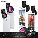 Xenvo iPhone Camera Lens Pro: Macro Lens Wide Angle Lens Kit, Clip-On Cell Phone Camera Lenses for iPhone 7/6/5/4, Android/Samsung Mobile Smartphone
