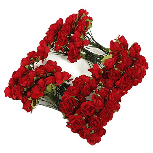 SODIAL(R)144 X Artificial Paper Red Rose Flower Wedding Craft Decor