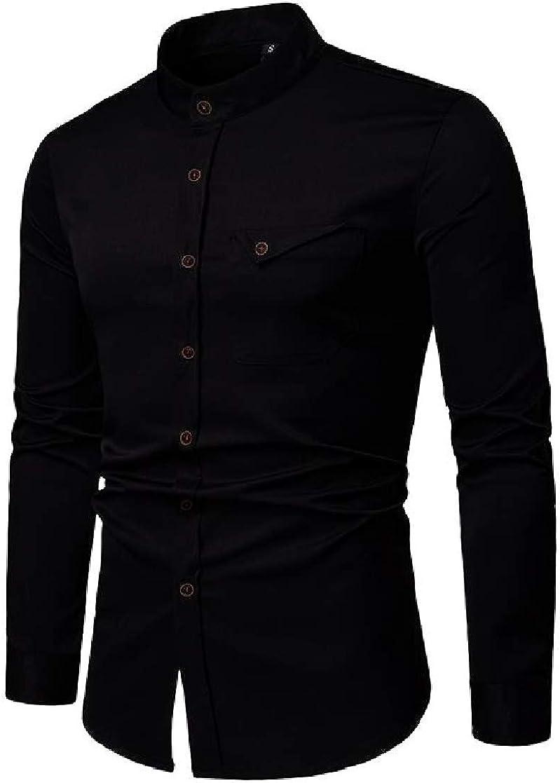 Macondoo Mens Slim Pocket Long Sleeve Stand Collar Button Down Casual Shirts