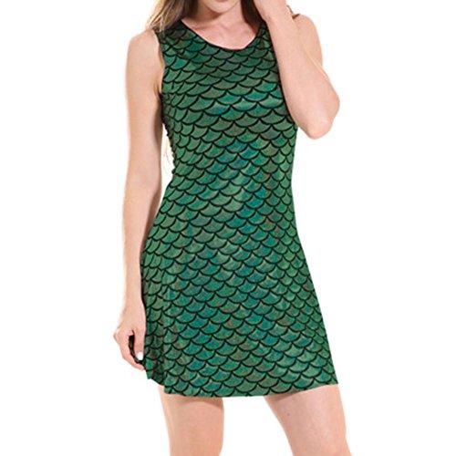 Rockabilly robe Fonc hibote moulante cailles Scale robe de Sexy Fish Dress poisson Vert Club BqvHW1Uw