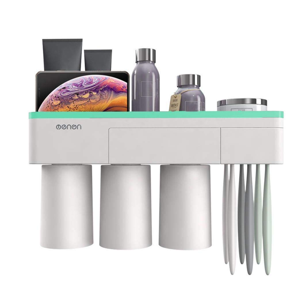 yerflew Wall Mounted No Drill Magnetic Household Three Brushing Cup Holder Tooth Cylinder Toothbrush Cup Set Bathroom Storage Organizer Rack Shelf