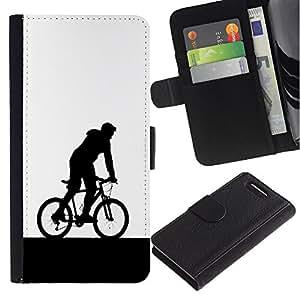 KingStore / Leather Etui en cuir / Sony Xperia Z1 Compact D5503 / Minimalista bicicletas jinete