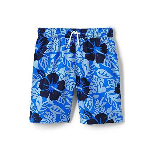 - Lands' End Toddler Boys Print Swim Trunks, 3T, Royal Blue Hibiscus Print