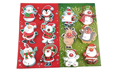 Sparkly 3-d Jingle Bells Christmas Tag Bundle: Two 6-packs of Jiggle Gift Tags with Bells