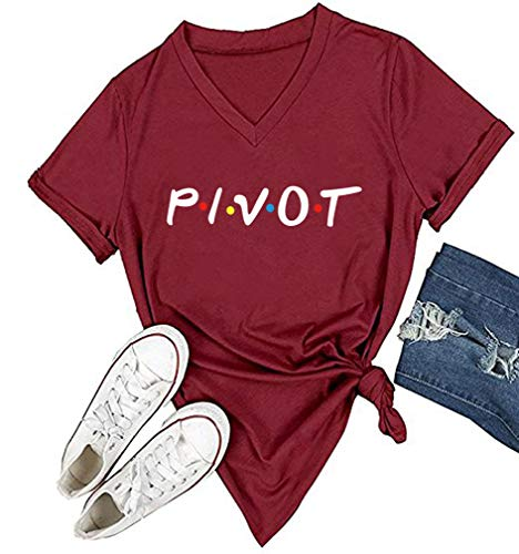 DANVOUY Women Pivot V-Neck Graphic T-Shirt Casual Tops Tees Wine Red XX-Large
