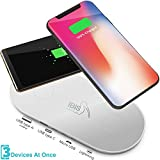 IBIS Wireless Dual Wireless Charging Pad Fast Charges 3 Devices At Once – Certified Qi Wireless Phone Charger - USB C, Lightning & Micro – Wireless Charging Station For iPhone X, 8, Galaxy S And More