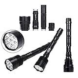 Handheld Flashlights,Lookatool XLightFire 30000 Lumens 12x CREE XML T6 5 Mode 18650 Super Bright LED