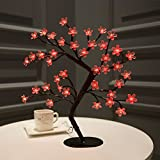 Bolylight LED Cherry Blossom Table Tree Lamp Night Light Centerpiece 16.73 inch 40L Great Decoration Home/Christmas/Party/Festival/Wedding, Red