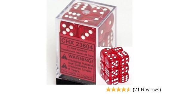 Translucent Red w// White Chessex Dice Block d6 12 pcs 16mm 23604 FREE BAG