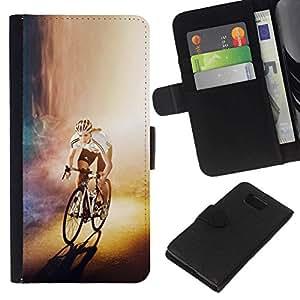 // PHONE CASE GIFT // Moda Estuche Funda de Cuero Billetera Tarjeta de crédito dinero bolsa Cubierta de proteccion Caso Samsung ALPHA G850 / CYCLIST BICYCLE RACER /