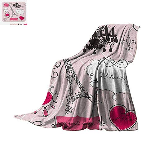 (Teen Room Warm Microfiber All Season Blanket Doodle Frames in French Style Rococo Baroque Lantern Mademoiselle Print Summer Quilt Comforter 50