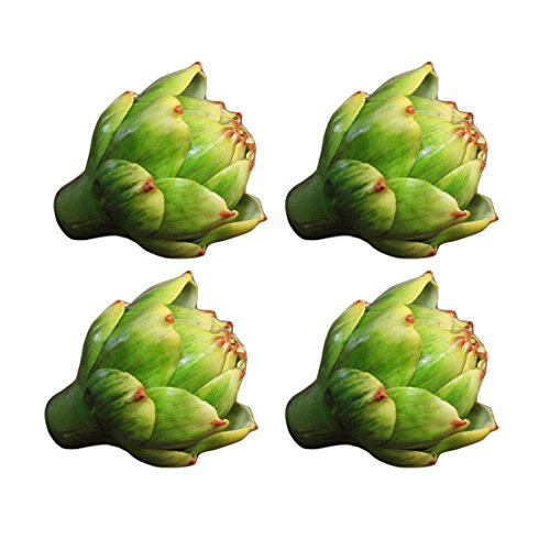 "Lorigun 3.5"", Artificial Artichoke, Artifical Vegetables, Plastic Fake Flower, Polyethylene Flower, Home Decor, Flower Arrangement, Christmas Decoration, Centerpiece, 4Pcs (Green)"