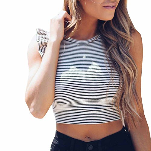 Striped Bodice Tank (Ghazzi Women Tank Crop Tops Striped Print Ruffles Sleeveless Tops Ladies Vest Casual Blouse Cami Shirt Camisoles (S, White))