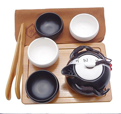 Hoobar Ceramic Kungfu Tea Set Chinese Style Handmade Teapot and Teacups with Portable Travel Bag and Tea Tray (Black + White)