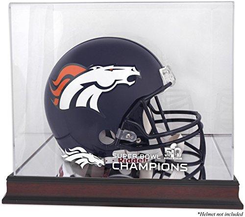 Sports Memorabilia Denver Broncos Mahogany Helmet Super Bowl 50 Champions Logo Display Case - Football Helmet Logo Display Cases