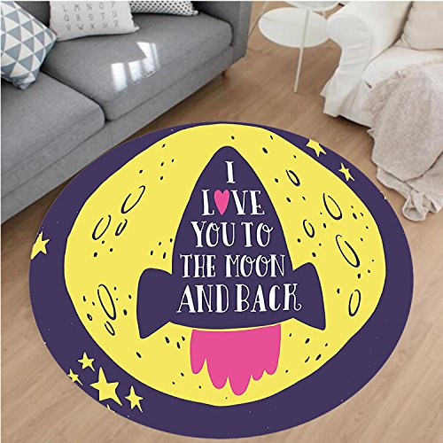 Nalahome Modern Flannel Microfiber Non-Slip Machine Washable Round Area Rug-to the Space I Love You to the Moon and Back Quote Stars Solar Cute Design Yellow Indigo area rugs Home Decor-Round 36
