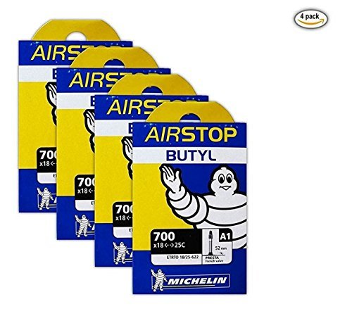 Michelin Airstop Butyl Tube - Michelin A1 Airstop 700x18-25c Road Bike Tube Bundle 52mm Smooth Presta - 4 PACK