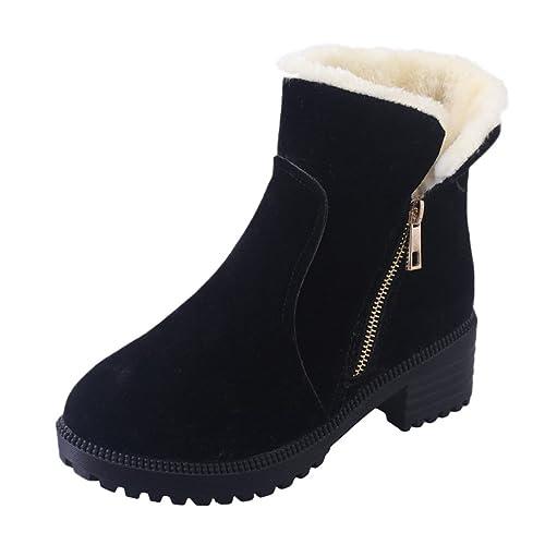 Dooxi Mujer Invierno Antideslizante Nieve Botas Moda Cremallera Talón Botines Casual Calentar Forrado Zapatos: Amazon.es: Zapatos y complementos
