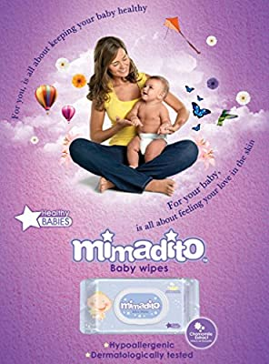 Baby Wipes by MIMADITO – Made With Natural Extracts, Purified Water. Light Scent and Soft Cloth. Keep Your Baby Sensitive Skin Fresh and Clean. A Must Have in Your Diaper Bag