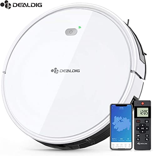 Dealdig Robot Vacuum Cleaner, 1300Pa Strong Suction, Low Noise, Self-Charging Robotic Vacuum Cleaner with Voice APP Remote Control