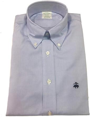 Brooks Brothers Camisa Milano azul con logotipo azul claro S: Amazon.es: Ropa y accesorios