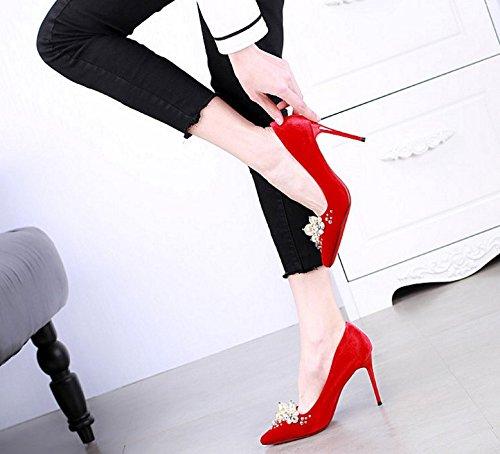 SSBY 9Cm High Heels Frühling Neue Spitze Mit Einem Feinen Einzelne Schuhe Frau Sommer Alle Übereinstimmen Sexy Diamond Kristall - Schuhe Rote Schuhe. Thirty-four