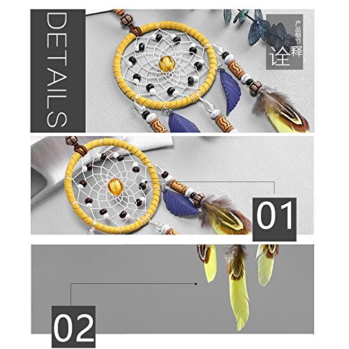 """Karleksliv yellow and blue feather small circlel Decorative Dream Catchers car decor diameter: 2.75""""; Whole Length:11.81"""" XM042"""