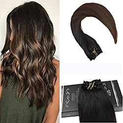 """Ugeat 20"""" Clip In Remy Hair Extensions Silky Straight Balayage Colored Extensions Off Black #1B Fadig to Brown #4 Real Human Hair Clip Extensions 120 Gram 7Pcs Per Pack"""